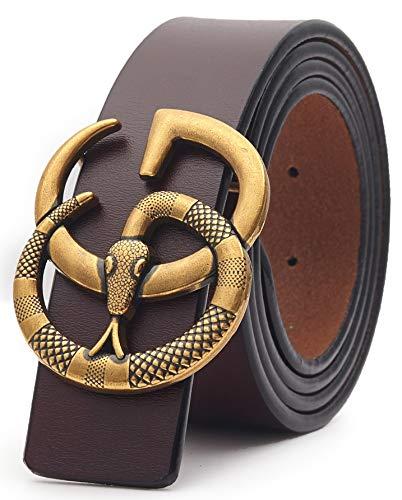 - US Fast Deliver 2-7 Days FBA Guarantee~Snake Gold Buckle Leather Belt Unisex Men Women Lady Belt~3.8cm Belt Width (110cm (Waist 32