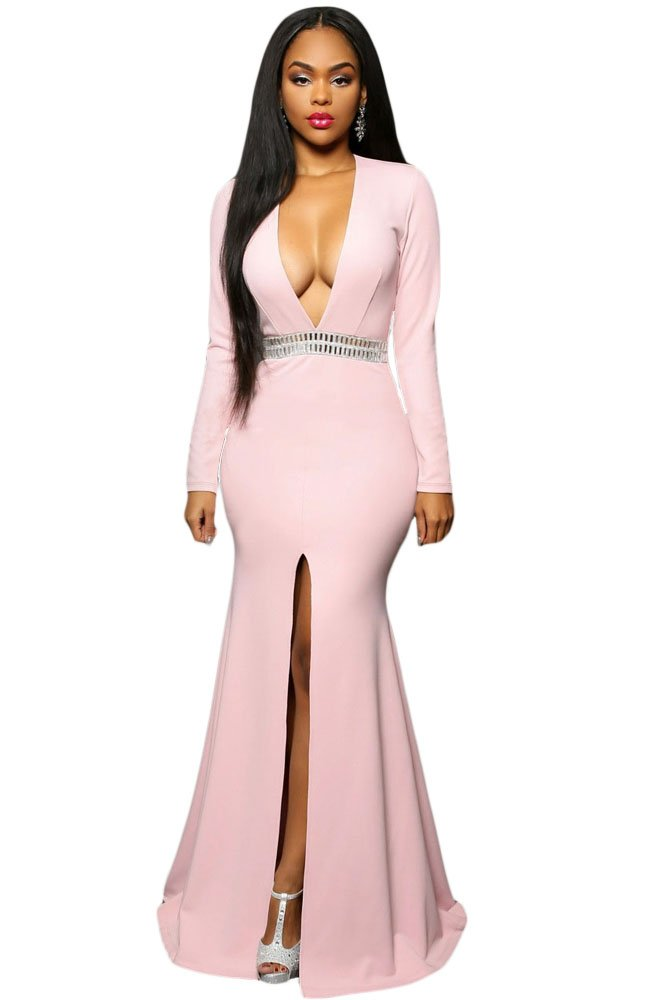 Hollywood Pink Jeweled Waist Front Slit Gown size L UK 14