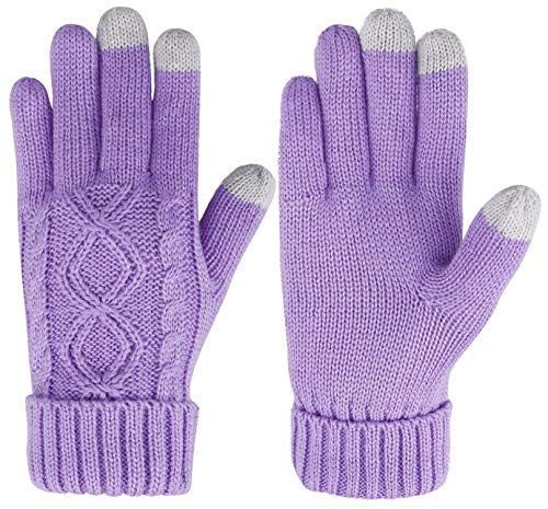 Acrylic Knit Wool (ThunderCloud Women's Cable Knit 3 Finger Touchscreen Winter Mitten Gloves,Purple)