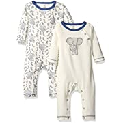 Touched by Nature Baby Organic Cotton Union Suit 2-Pack, Elephant, 3-6 Months