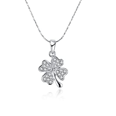 9900b4a203fd09 Amazon.com  NABTYJC Sterling Silver Four Leaf Clover Heart-Shaped Swarovski  Crystal Pendant Necklace
