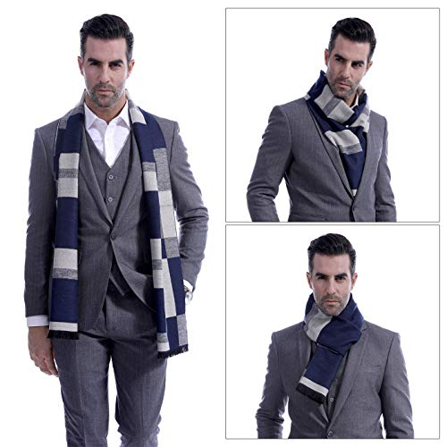 Men Cashmere Plaid Knitted Scarf Soft Warm Cashmere Feel Neckwear Men Business Fine Scarves Blue & Gray by Panegy (Image #5)