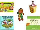 Girl's Gift Bundle - Ages 6-12 [5 Piece] - Scene It? Nickelodeon DVD Board Game - Reversible Lid Ballerina Trinket Box - Sugar Loaf Creations Jester Bear Plush - Riches in the Rain Forest: An Advent