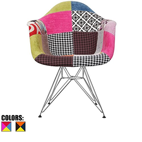 Cheap 2xhome – Fabric Armchair with Eiffel Legs Dinning Chair Molded Plastic Wire Chair Base (DAR) Legs, Patchwork A