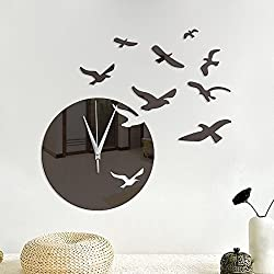 uHomee DIY Seagulls Acrylic Mirror Wall Stickers Wall Clock Stickers