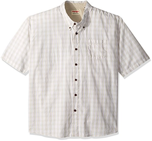 Wrangler Authentics Men's Big & Tall Short Sleeve Plaid Woven Shirt, Drizzle, - 3 Shirt Casual Button