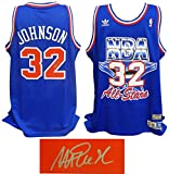 Magic Johnson Signed 1992 All Star Game Official Adidas Blue Throwback Swingman Jersey