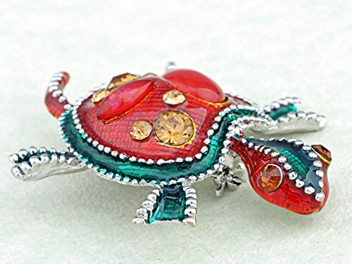 Synthetic Ruby Emeraly Enamel Paint Bead Crystal Rhinestone Baby Turtle Fashion Pin Brooch