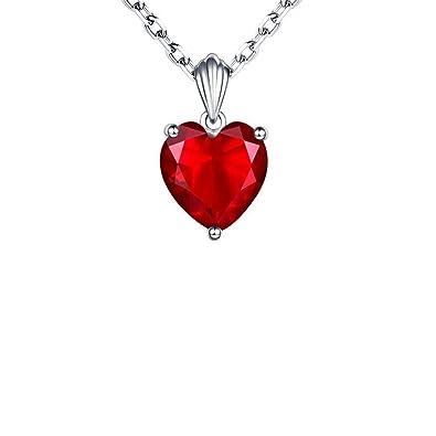 a4424c082257 YUKKJR Colgante de Collar de Zafiro Esmeralda Colgante de joyería de rubí  Collares y Colgantes de corazón para Mujer Plata