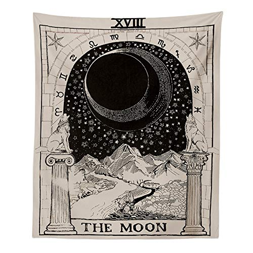 INTHouse Tarot Moon Tapestry Wall Hanging Astrology Tapestry Zodiac Tapestry Medieval Astrology Decor Wall Tapestry for Bedroom Living Room College Dorm Room (51
