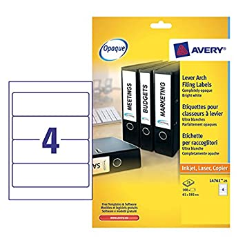 Avery L4761-25 - Pack de 25 hojas de etiquetas para archivadores, 192 x 61 mm, color blanco: Amazon.es: Oficina y papelería