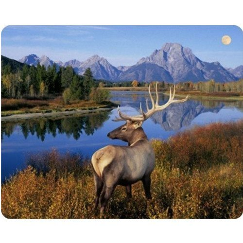 Elk Standing in The Mountain Scene Gaming Mouse Pad Oblong Shaped Mouse Mat Natural Eco Rubber Durable Computer Accessories Mouse Pads Support Wired Wireless or Bluetooth Mouse