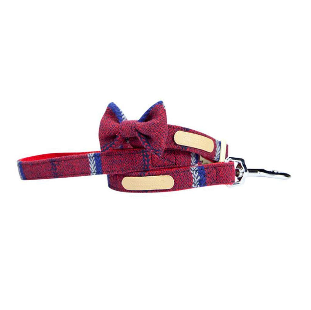 Red. Medium red. Medium European Style Bow Collar Collar Set Pet Supplies Cat and Dog Traction Rope,Red,M