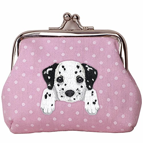 Embroidery Dalmatian ([ DALMATIAN ] Cute Embroidered Puppy Dog Buckle Coin Purse Wallet [ Pink Polka Dots ])