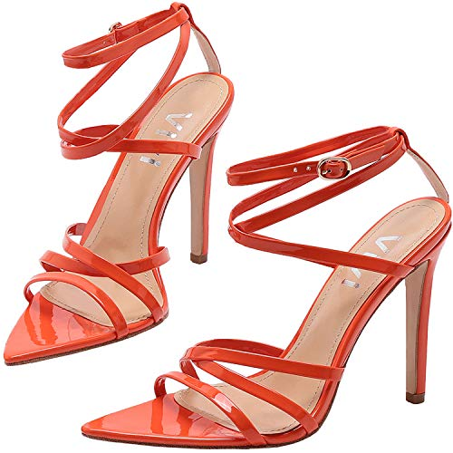 (Vivi Open Toe High Heel Pointed Strap Sandals Slip on Dress Shoes for Party and Prom (6 B(M) US, Orange))