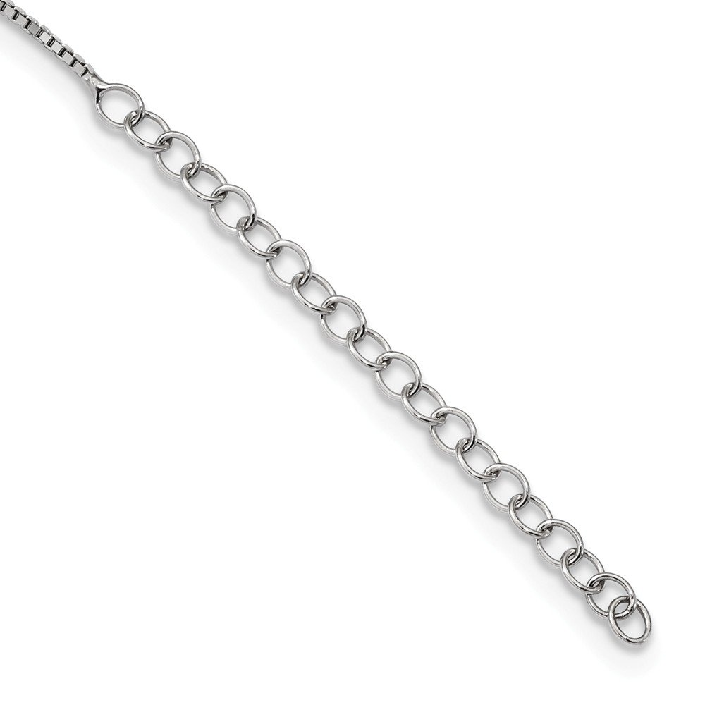 Sterling Silver CZ Brilliant Embers Ribbon Necklace 35x11mm 18 Inches