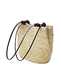 Donalworld Girl Summer Bucket Woven Bag Beach Tote Vacation Straw Handbag