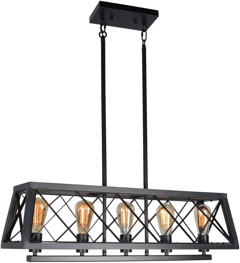 Beuhouz Farmhouse - Lámpara de techo rectangular de metal y madera ...