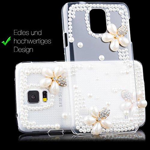 Apple iPhone 6 / 6S + PLUS (5,5 pouces)   fleurs iCues perles cas clair   [Protecteur d'écran, y compris] floral protecteur de feuille transparente Temps clair strass Glitter Glitter luxe bling dames