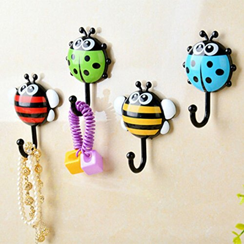 E-SCENERY 2Pcs Cartoon Ladybug Suction Hooks, Wall Hooks Waterproof Wall Hanger for Robe, Coat, Towel, Keys, Bags, Lights - Home Kitchen Bathroom, Home Decor (Random Color) Ladybug Hooks