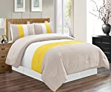 quilt double bed - 4 Piece FULL Size (Double Bed) SUNSHINE YELLOW / GREY / WHITE Pin Tuck Stripe Regatta Goose Down Alternative Comforter set 88