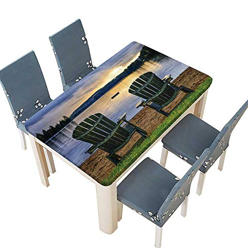 PINAFORE Natural Tablecloth Adirondack Chair Watching Sun Over The River for Home Use, Machine Washable W37.5 x L76.5 INCH (Elastic Edge) ()