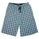 Hanes Men's Cotton Madras Drawstring Sleep Pajama Shorts, Large, Black