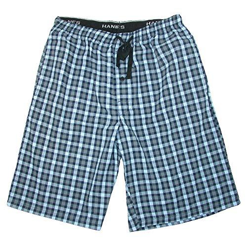 Hanes Men's Cotton Madras Drawstring Sleep Pajama Shorts, Large, Black by Hanes