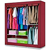 Generic New Double Portable Canvas Wardrobe with Hanging Rail Closet Home Furniture Rack