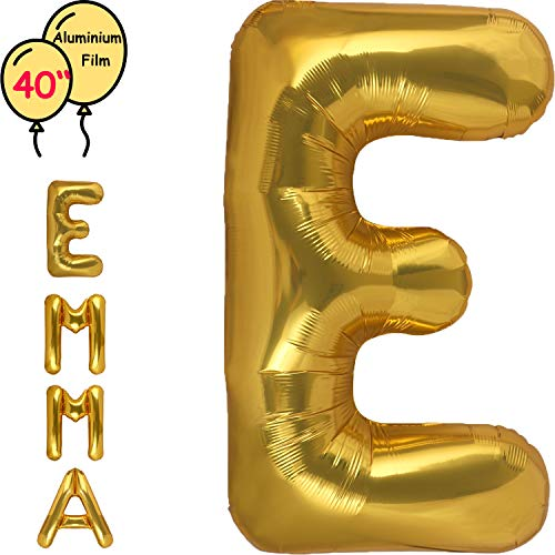 Large 40 Inch Giant Gold Letter Balloon Birthday Party Decorations-Mylar Foil Big Alphabet Helium Balloon ... (Letter E) -