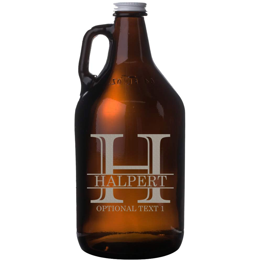 Personalized Etched Monogram 64oz Amber Beer Growler (Design 2)