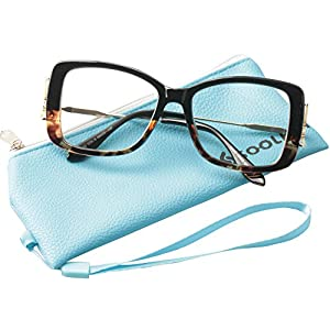 SOOLALA Ladies Lightweight Large Frame Eyeglass Fashion Reading Glass, Leopard, +3.0