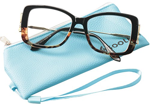 Fashionable Reading Glasses - SOOLALA Ladies Lightweight Large Frame Eyeglass Fashion Reading Glass, Leopard, +1.5