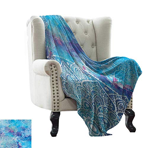 - RenteriaDecor Batik Decor,Custom Picture Blankets Artistic Paisley Floral White Lace Mandala Watercolor Painting Artwork Print 60