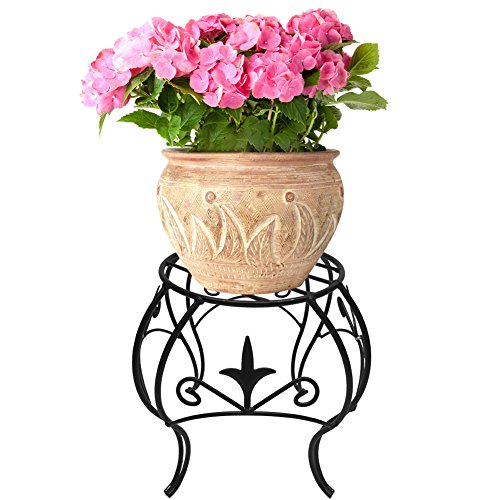Amagabeli Metal Potted Plant Stand 10 inch Rustproof Decorative Flower Pot Rack with Curved Legs Indoor Outdoor Iron Art Planter Holders Garden Patio Steel Fern Pots Containers Supports Corner Black (Fern Stand)