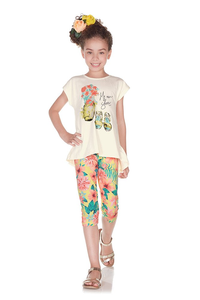 Pulla Bulla Little Girl Floral Set Shirt and Leggings Outfit Size 5 Ivory