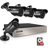 ZOSI 8-Channel FULL 1080p HD-TVI Outdoor Surveillance System,8CH 1080p CCTV DVR and (4) HD 2.0MP 1080p Weatherproof Bullet Security Cameras,42pcs IR Leds 120ft(40m) IR night vision 1TB Hard Drive