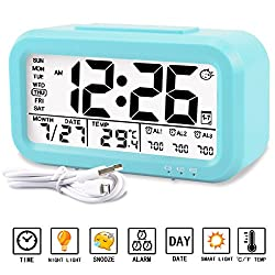 Alarm clock, Aitey Digital Alarm Clock for kids, Time/Date/Temperature Display, Snooze Function, 3 Alarms, Optional Weekday Mode, USB Charging (Blue)