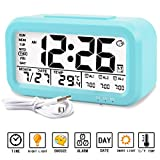 Aitey Alarm clock, Digital Alarm Clock for kids, Time/Date/Temperature Display, Snooze Function, 3 Alarms, Optional Weekday Mode, USB Charging (Blue)