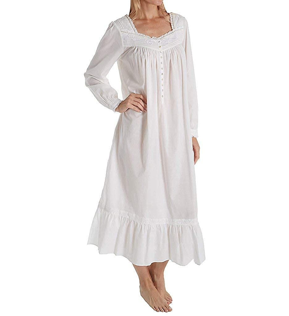 Eileen West Womens Embroidered Cotton Lawn Ballet Long Sleeve Nightgown