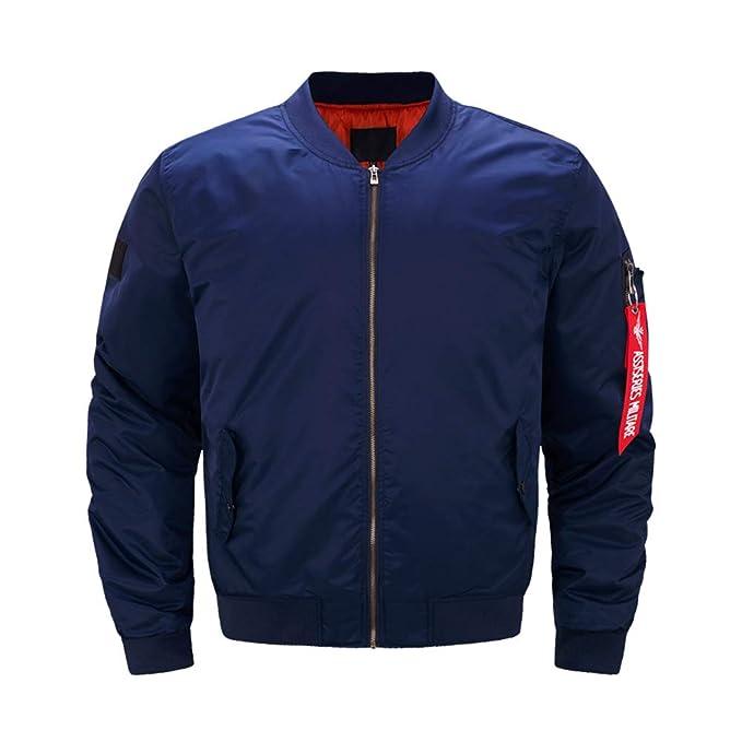 Hzjundasi Hombre Chaqueta Bomber - Invierno Mantener Caliente Solid Bomber Zipper Outwear Oversize Aviador Jacket: Amazon.es: Ropa y accesorios