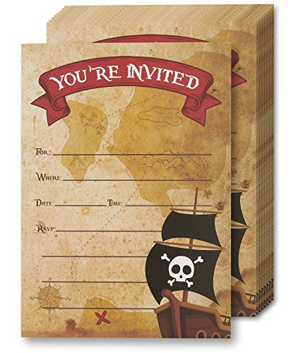 Pirate Invitation Cards - 24 Fill-In Invites with Envelopes for Kids Birthday Bash and Theme Party, 5 x 7 Inches, Postcard (Pirate Invitations)