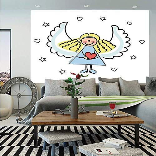 Xmas Huge Photo Wall Mural,Cute Little Girl with Wings Red Heart Stars Angel Blessing Heaven Holiday Decorative,Self-adhesive Large Wallpaper for Home Decor 108x152 inches,Black White Pale Blue