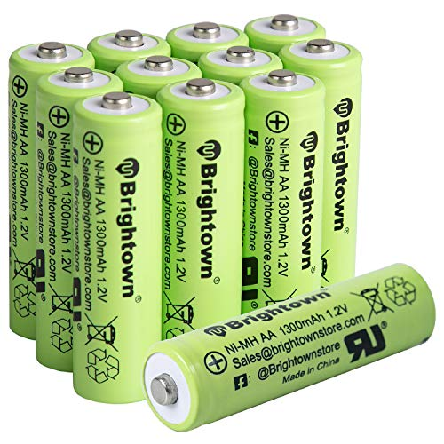 NiMH Rechargeable AA Battery Pack 12, 1300mAh 1.2v Pre-Charged Double A Solar Battery for Solar Lights, Battery Operated String Lights, Remote Controller, Electric Toys, UL Certified
