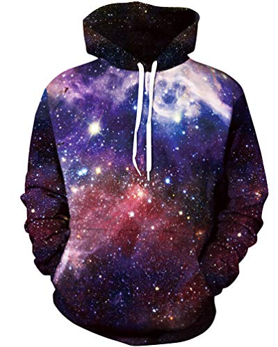 sanatty Unisex Realistic 3D Print Galaxy Pullover Hooded Sweatshirt Hoodies with Big Pockets (XX-Large/XXX-Large, dark purple galaxy)