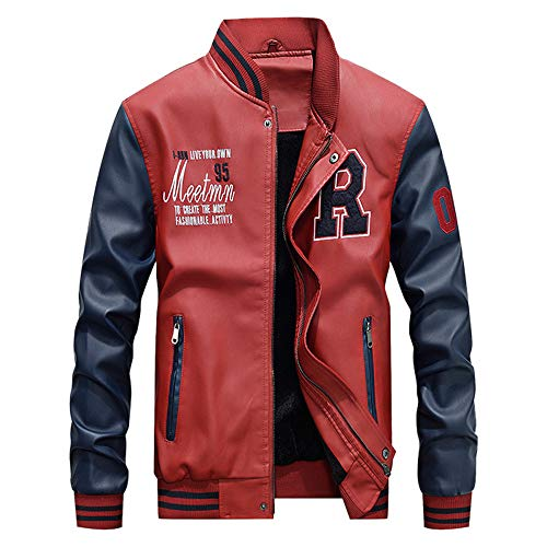 YKARITIANNA Men's Spring 2019 New Casual Long Sleeve Stand Zipper Faux Leather Add Velvet Jacket Top Pattern Jackets Red ()