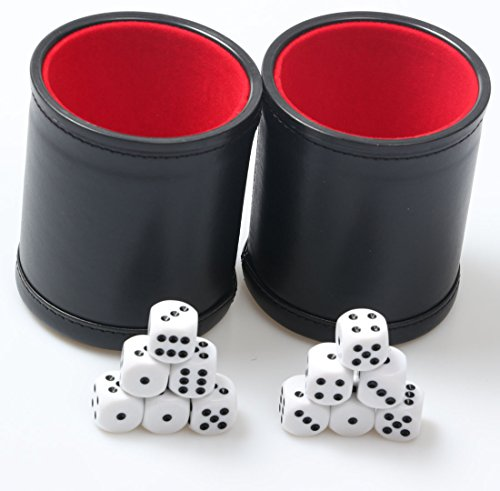 Backgammon Dice Cup (RERIVER Felt Lined PU Leather Dice Cup Set with 6 Dot Dices (Black, Pack of 2))