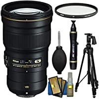Nikon 300mm f/4E PF VR AF-S ED-IF Telephoto Nikkor Lens with Hoya UV Filter + Pistol Grip Tripod + Cleaning Kit