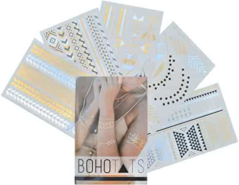 BohoTats Flash Tattoos - Set of 5 Sheets - Over 100+ Intricate Designs - Stunning Metallic Flashtats - Non Toxic - Quality Guarantee - Temporary Metallic Tattoos