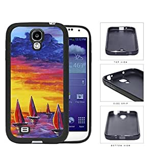 Sailboats Floating In The Sea Watercolor Painting [Samsung Galaxy S4 I9500] Rubber Silicone TPU Cell Phone Case